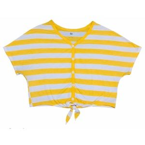 Yellow Striped Front Tied Crop Top